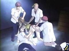 Four nasty studs stripping, spreading & fucking fresh anime pussy