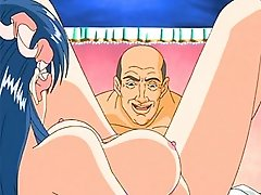 Big titted anime slut sucks cock and gets her tight pussy pounded again and again